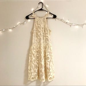 Cream lace high neck dress